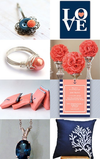 Lovely Navy and Coral Collection featuring my Coral Pearl Wire Wrapped Ring --Pinned with TreasuryPin.com