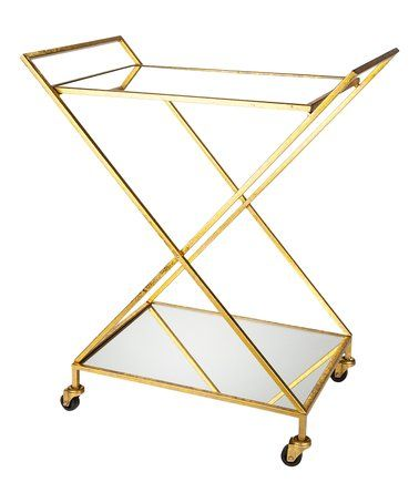 This Gold Mirror-Top Rolling Bar Cart is perfect! #zulilyfinds