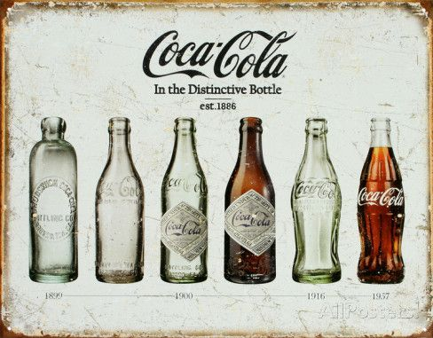 Coca Cola fles door de jaren heen, horizontaal Emaille bord bij AllPosters.nl