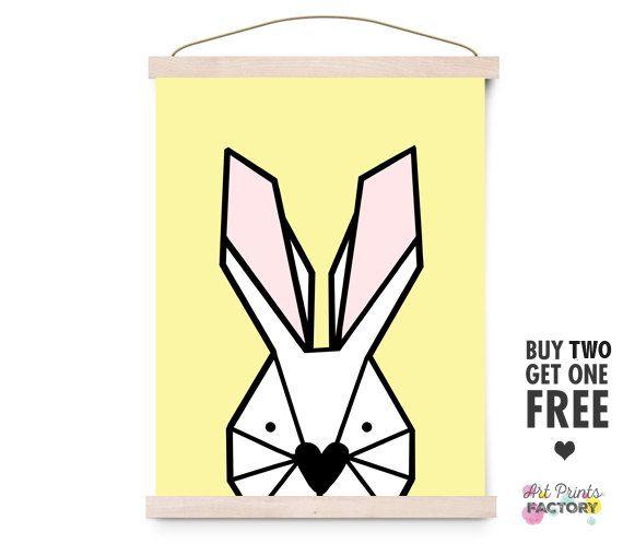 bunny print, Geometric print, animal,  scandinavian nursery, minimalist nursery,  colorful wall decor, kids room, yellow poster, bunny art by ArtPrintsFactory on Etsy