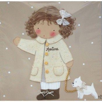 Cuadro artesanal - niña abrigo blanco y perrito