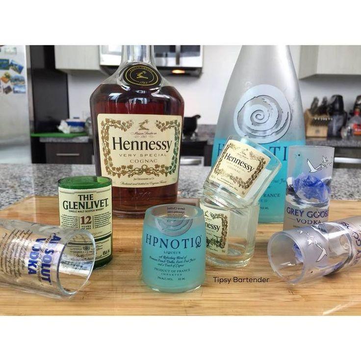 DIY Mini Liquor Bottle Shot Glasses - For more delicious recipes and drinks, visit us here: www.tipsybartender.com