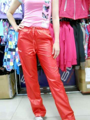 Red nylon pants