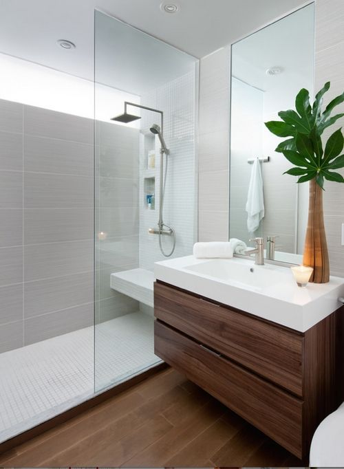 upstairs bathroom, wood effect grey tiles in the shower, ceramic tiles.
