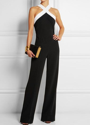 Moda 2016: Criss Cross Neck Black Straight Jumpsuit