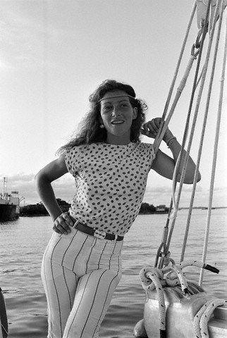Photo of French sailor Florence Arthaud, winner of the 1990 Route du Rhum (transatlantic single-handed yacht race), by Jean Guichard, circa 1982