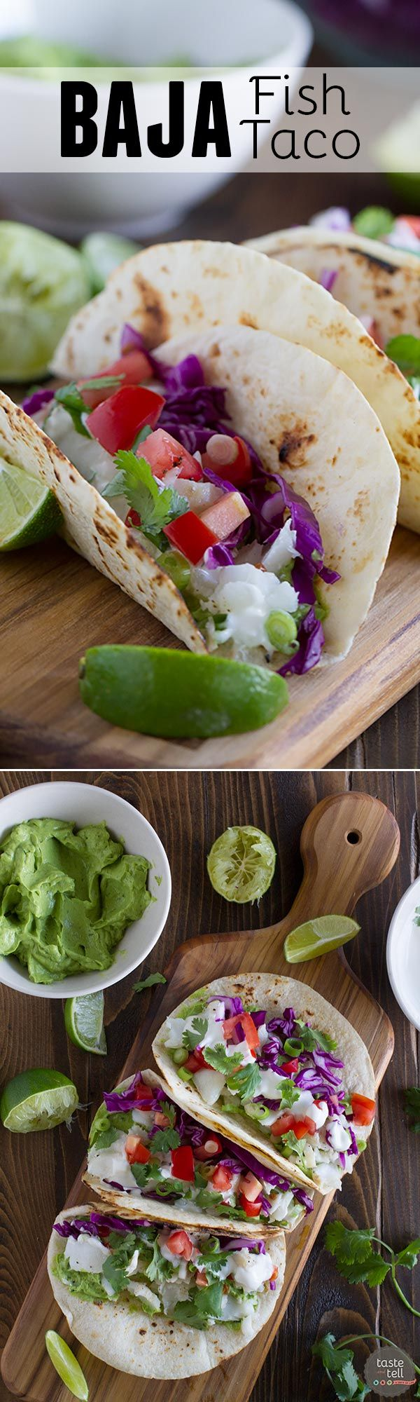 A healthier fish taco, this Baja Fish Taco Recipe has grilled flaky white fish, a creamy avocado sauce, and a tangy white mayo sauce. My idea of a perfect taco night!:
