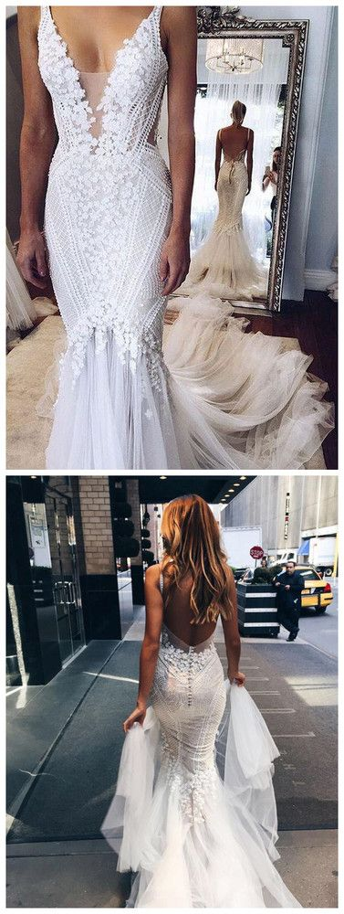 Elegant wedding dress with applications V-neckline Mermaid wedding dress with open back