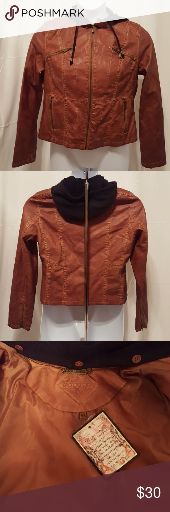 "NWT Hooded Faux-leather Jacket JouJou Brand Hooded Leather Jacket  Tobacco-colored  Brand new. Never worn. No damages.  The jacket is 20"" arm pit to arm pit  Perfect for cool weather and a closet staple!   Offers are welcomed. No low-balling. Jou Jou Jackets & Coats Utility Jackets"