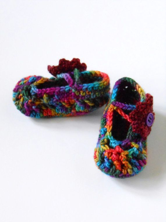 Booties Crochet Easy Care Wool Socks that Rock Sock Yarn Size 0-3, 3-6, 6-9 & 9-12 Months Made to Order