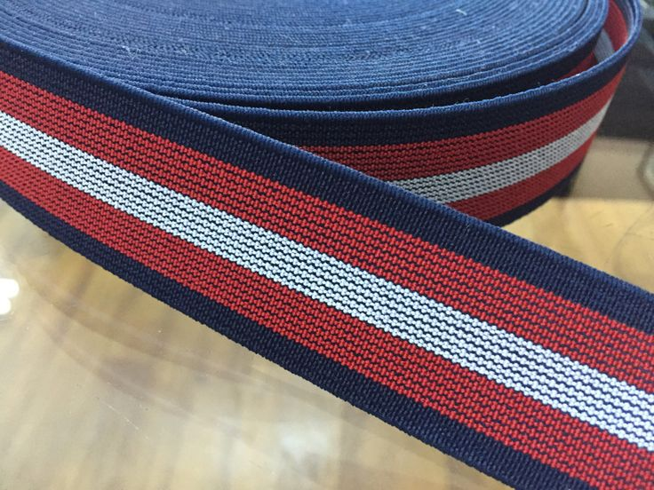 1.2 in (3 cm) wide Navy, Red and White Striped Elastic, wholesale elastic, striped elastic, custom elastic, by NoaElastics on Etsy