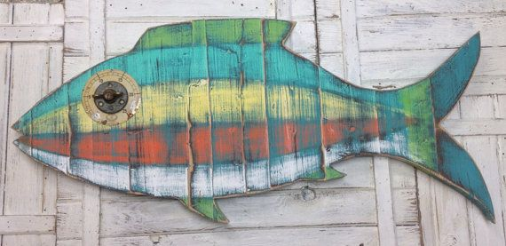 Fish Sign Tropical Wall Art Beach House Weathered by CastawaysHall