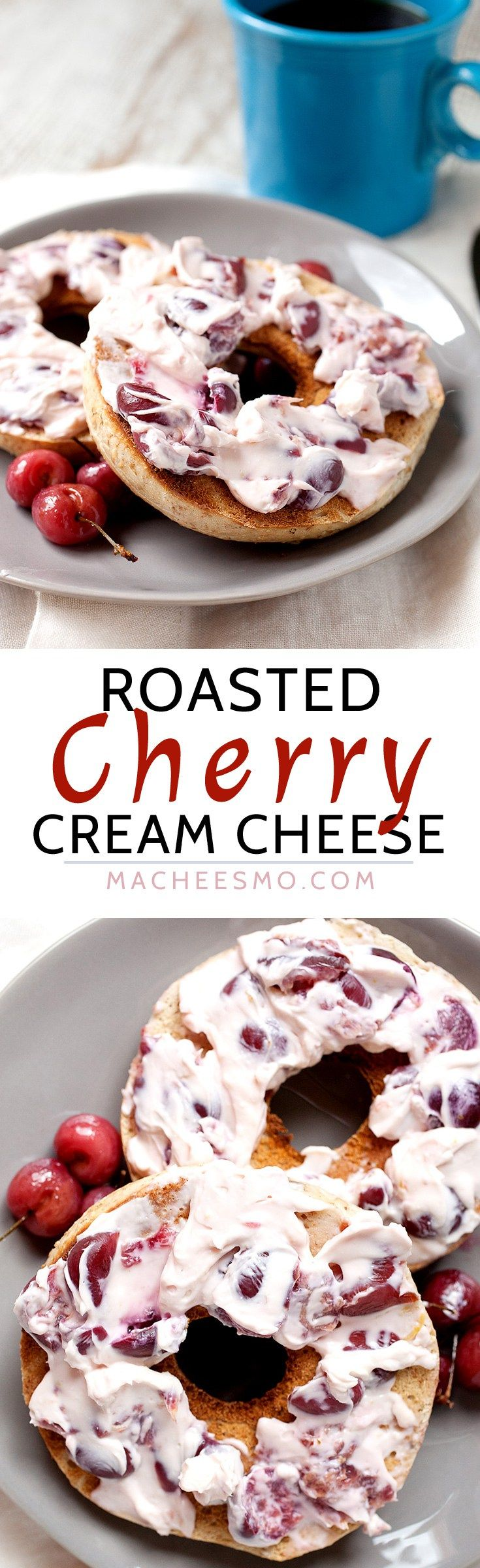 Roasted Cherry Cream Cheese: Not a bagel topper you can buy in the store, but a perfect one to make at home when delicious ripe cherries are in season. Lemon, honey, and packed full of roasted sweet cherries.   macheesmo.com