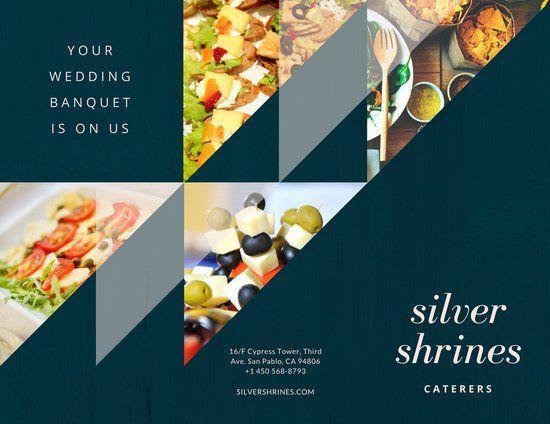 Blue Geometric Photo Wedding Catering Brochure