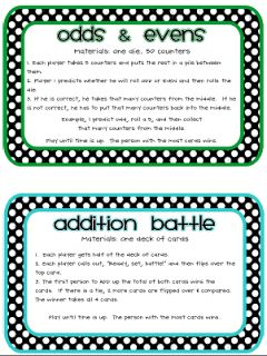 Printable 1st or 2nd grade Math Games Galore....for the students that always have time to spare in class