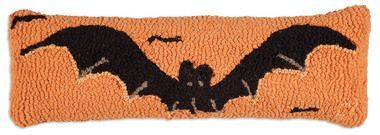 "Halloween Bat 8""""x24"""" Lumbar Hooked Wool Pillow"