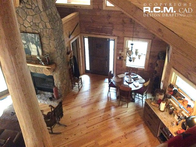 An interior view of one of our designs, thank you to our wonderful client! A vacation home in the #NorthCarolina woods, close to #Brevard. A beautiful log accent frame construction with exterior log siding - exquisitely finished inside with lots of attention to details! #loghomedesign #architects #hgtv #vacationhome