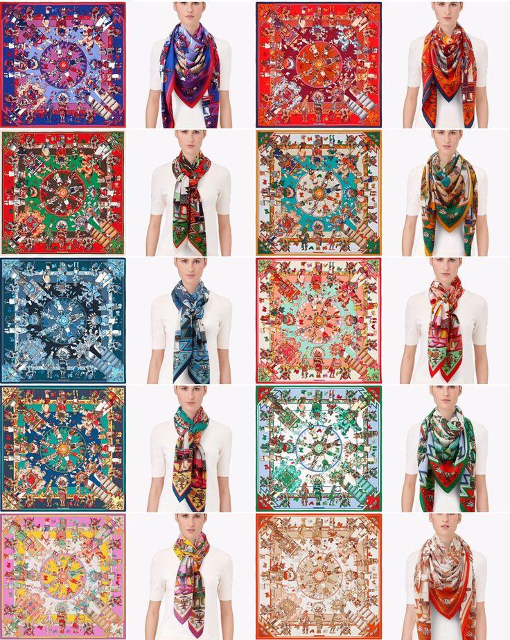 Kachinas 140x140cm cashmere-silk shawl CW32-41