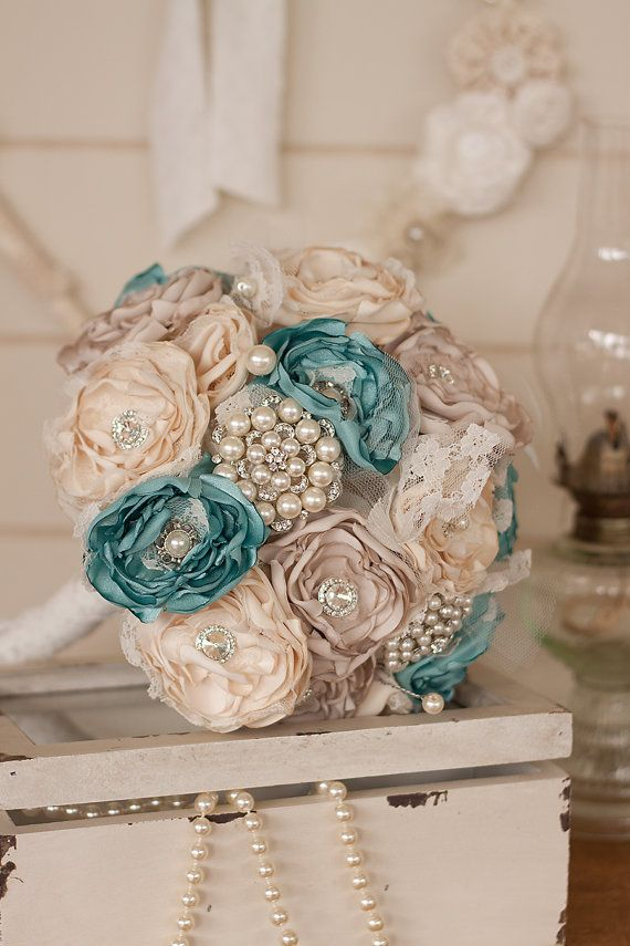 Cream Ivory And Teal Blue Satin Lace Bridal Bouquet Vintage Inspired Fabric Brooch Wedding