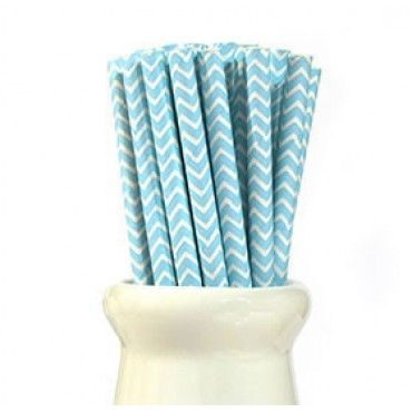 Paper Straws Chevron Pale Blue - Party Shop :: Big Dreams