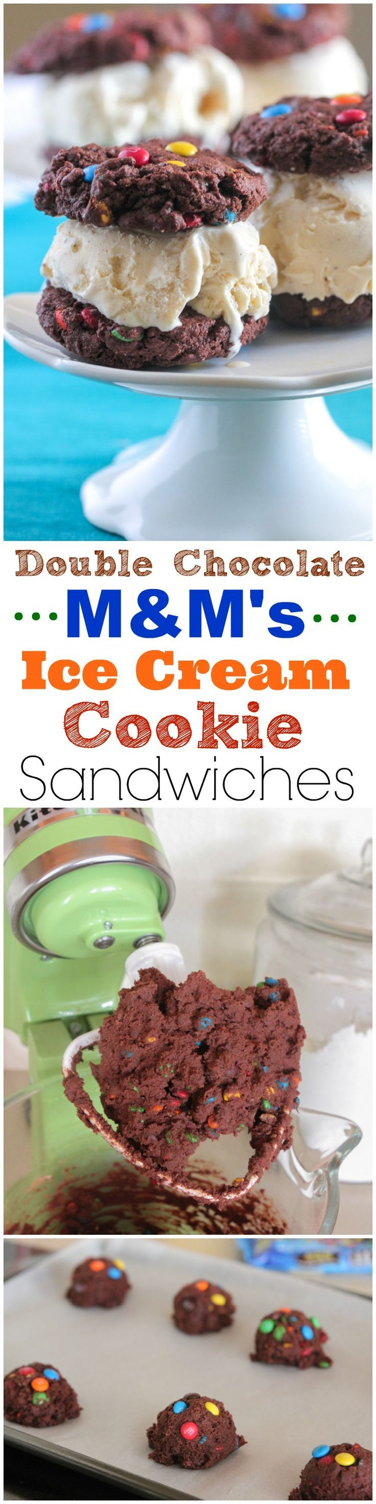 Double Chocolate M&M's Ice Cream Cookie Sandwiches
