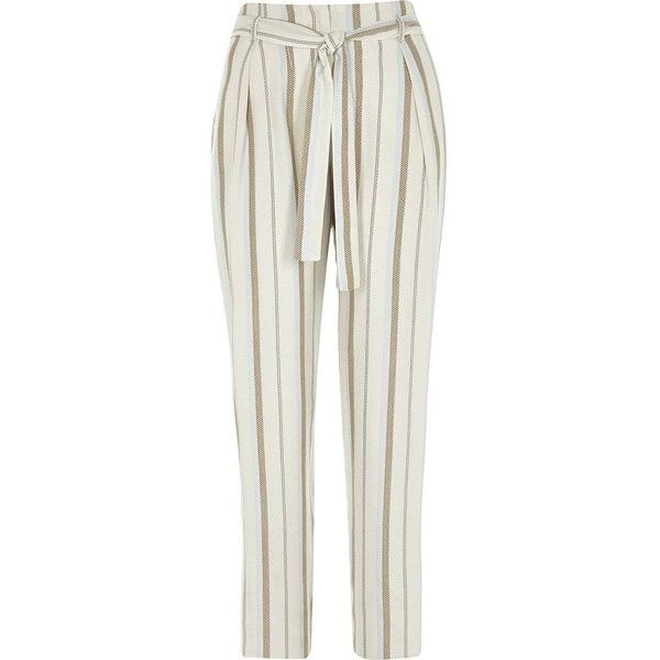 River Island Beige stripe print tie waist tapered pants (€66) ❤ liked on Polyvore featuring pants, beige, tapered pants, women, tall pants, tie waist pants, loose fit pants, river island and striped trousers