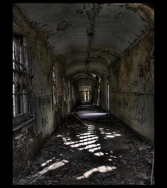 One of the many corridors at Hellingly Mental Asylum ...