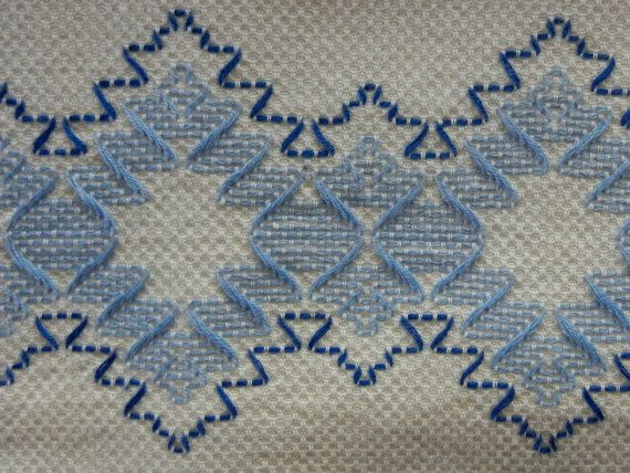 Swedish Embroidery Cotton Huck Towel in Blues on White - Vintage