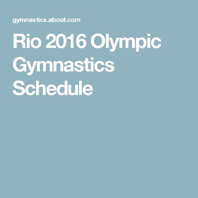 Rio 2016 Olympic Gymnastics Schedule