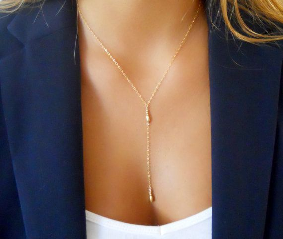 Delicate Gold Y necklace Lariat Necklace Layering by annikabella