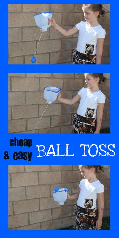 DIY ball toss with milk jug and homemade yo yo