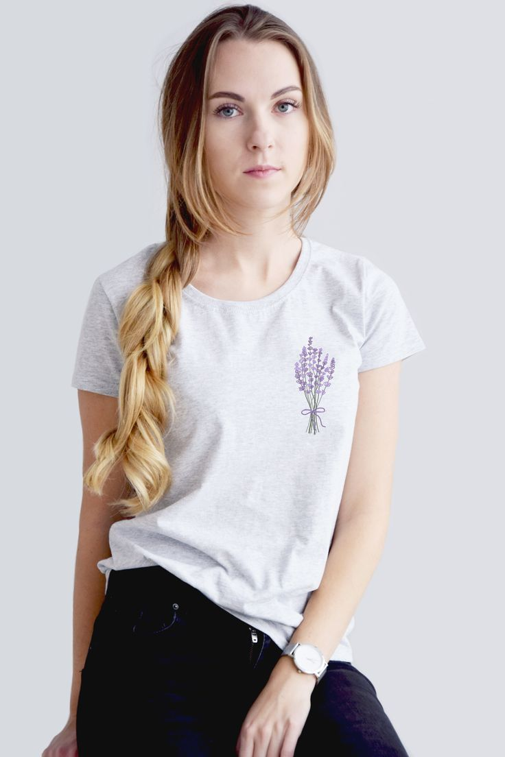 a424eeb3fb41 Embroidery tshirt - hand embroidery - embroidered t-shirt - lavender tshirt  - women tshirt - 100% cotton #embroideryshirt #womentshirt #handembroidery  # ...