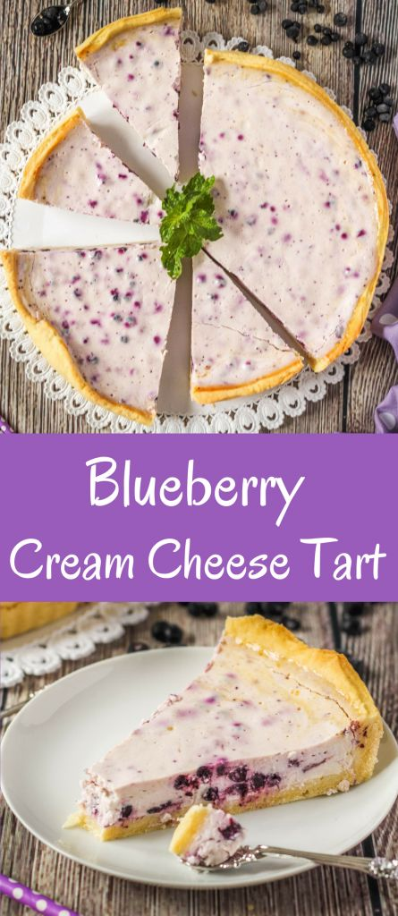Creamy tart with blueberries, cream cheese and sour cream filling