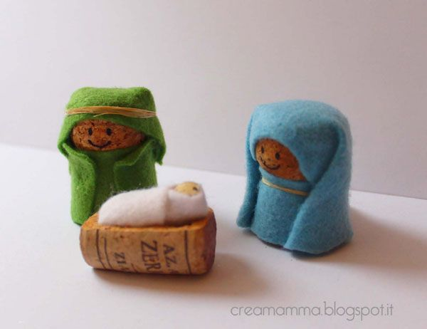 This nativity is simply made with corks and felt.