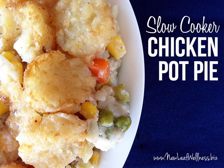 Slow cooker chicken pot pie with tater tots. Easy and delicious!