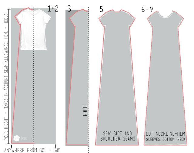 Очень простая выкройка платья - футболки     А выкройку сделать просто: обвести вутболку и продолжить на величину своего роста. Можно сделать пару петелек под грудью и носить с тонким ремешком.