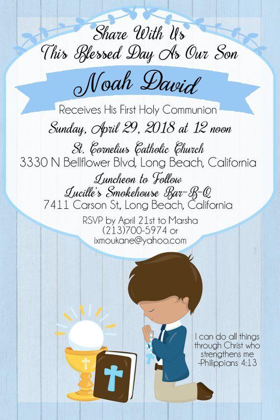 Invitación De Primera Communion Para Niño O Niña En