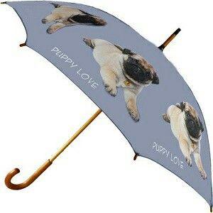 Puppy love. Paraplu mopshond.  Een super leuke paraplu die lekker opvalt. Www.Kado-Wens.nl