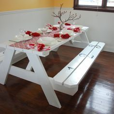 "DIY: Bring the ""picnic"" inside.. Turn an ugly Picnic Table into a Georgeous Dining Room Table with a few coats of paint & some stenciling..wait a minute, I like this idea!"