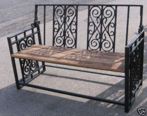Antique Iron used and salvaged wood bench by Black Dog Salvage.