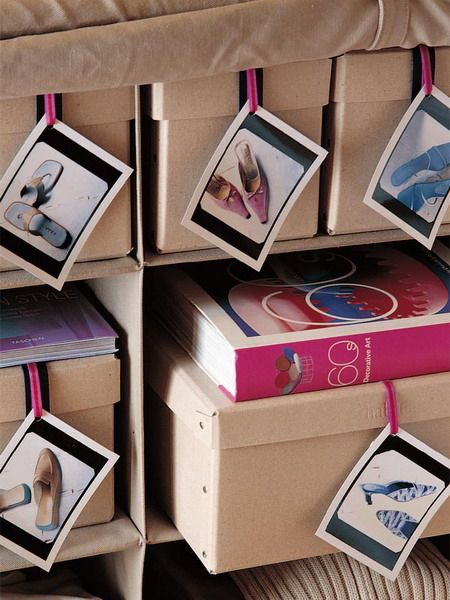 Photo labels for pictorial shoe organization