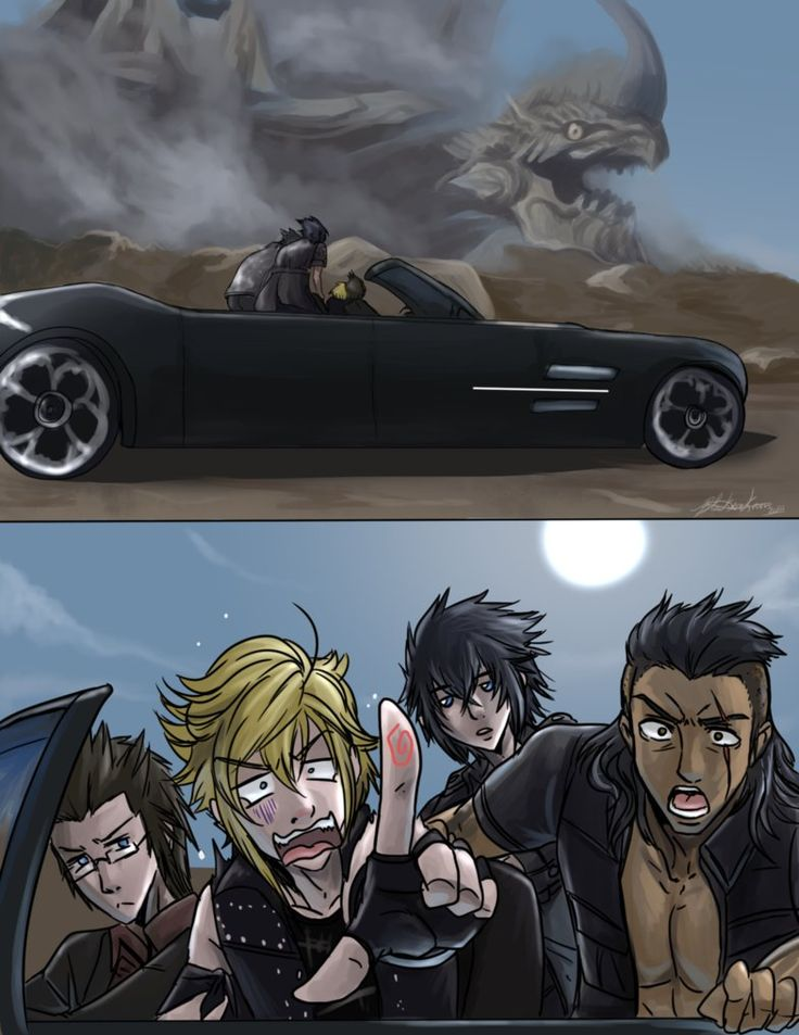 Impending disaster... ... They'll eventually forgive Prompto Featured in the Unbreakable Bonds FFXV calandar here! :www.finalfantasyxv.com/public/… Can't wait for the release dat...