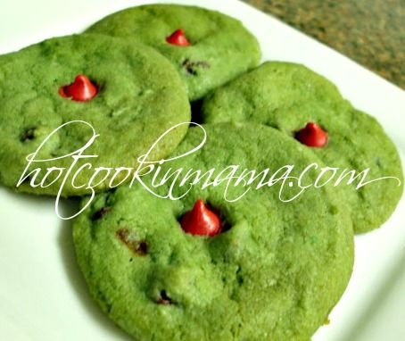 grinch cookies - Google Search....just add green food coloring to a choc chip cookie recipe & add a cherry choc chip for the Grinch's heart.