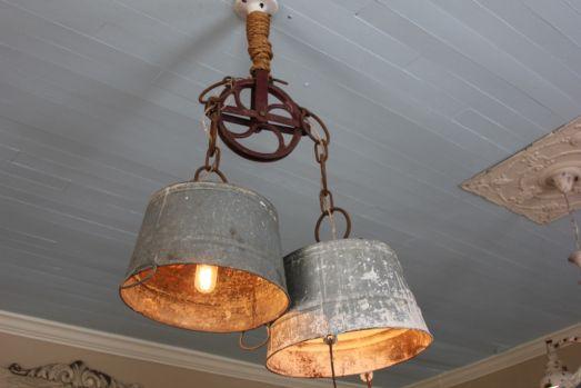 Antique Pulley + Vintage aluminum pails = Awesome chandelier!