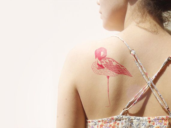 Flamingo Temporary Tattoo par deKrantenkapper sur Etsy, €6.00