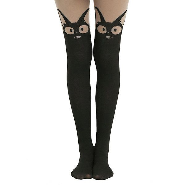 Studio Ghibli Kiki's Delivery Service Faux Thigh High Tights Hot Topic ($12) ❤ liked on Polyvore featuring intimates, hosiery, tights, nylon pantyhose, nylon hosiery, ghibli, thigh high pantyhose and nylon stockings