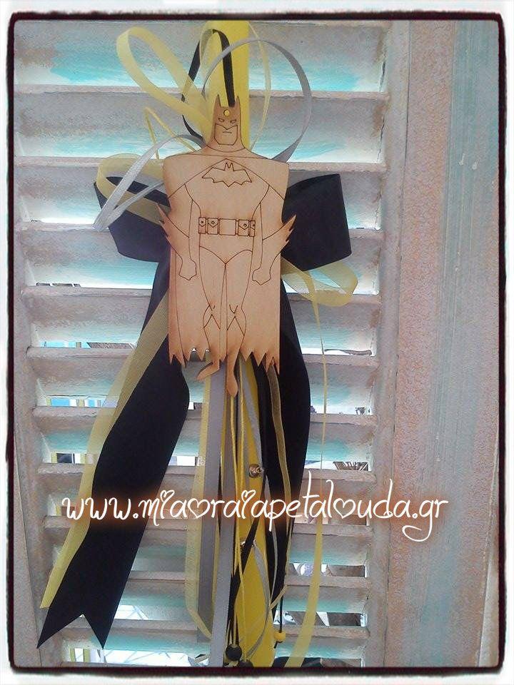 Πασχαλινή Λαμπάδα με ξύλινο διακοσμητικό Batman