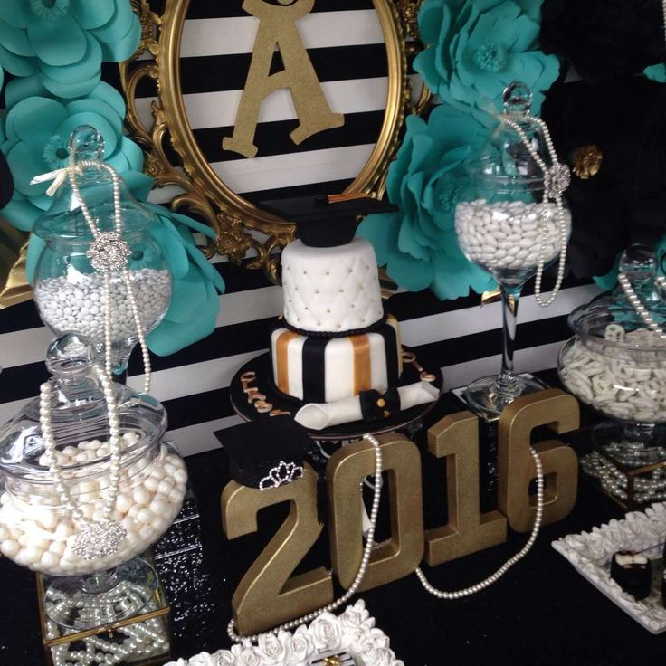 Check out this glam graduation party! See more party planning ideas at CatchMyParty.com!