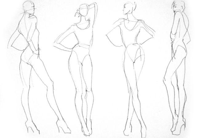 fashion illustration templates walking