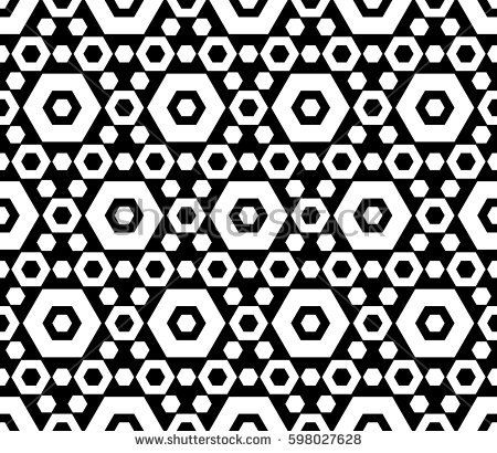 Vector monochrome texture, black & white hexagonal geometric seamless pattern. Contrast abstract background with different sized hexagons, symmetric structure. Design for decor, fabric, prints, cover